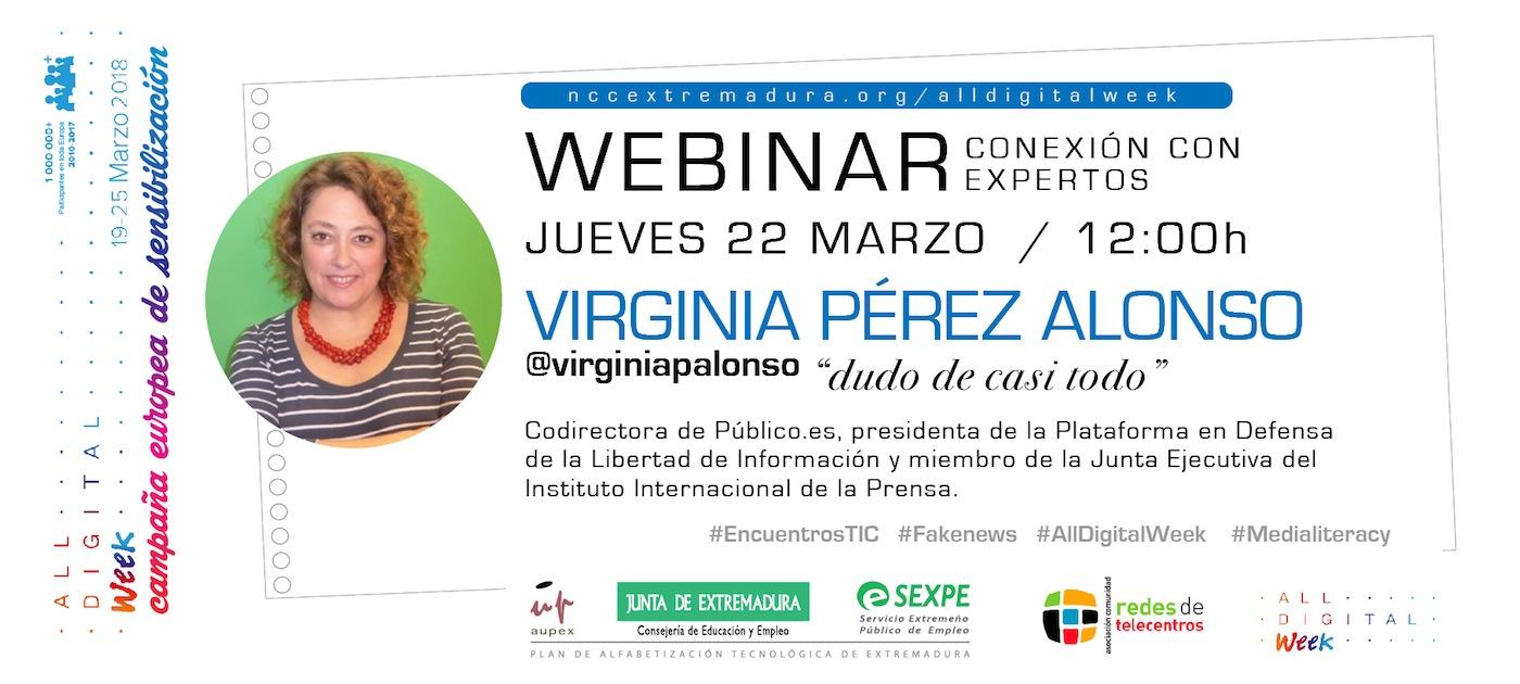 El PAT organiza un webinar con la presidenta de la Plataforma en Defensa de la Libertad de Información, Virginia Pérez